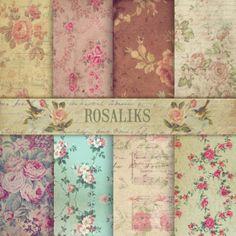 Floral Digital Paper Pack Paper Backgrounds Supplies by rosaliks, $5.00