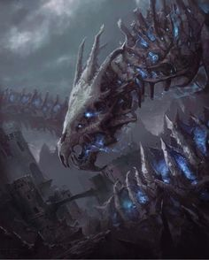 The Giant Skull Dragon by Mintoucan _ - Mega Dark Things Monster Concept Art, Fantasy Monster, Monster Art, Creature Concept Art, Creature Design, Dark Fantasy Art, Art Goth, Warrior Angel, Shadow Dragon
