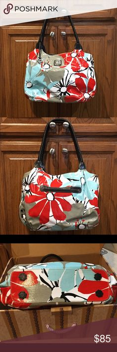 Brighton Gibson Hobo handbag Carry your belongings in style with this floral red, gray, white, blue handbag. Gently used. Very clean inside and out. Beautiful Brighton emblem on outside front as well as attached signature Brighton heart. Outside back has pocket. One side of inside has a zippered pocket, two open pockets and a key leash. Other inside has zippered pocket. Bottom feet. Brighton box and dust bag included. Brighton Bags Hobos