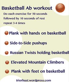 New Core Workouts & Almond Butter Ideas Basketball Ab workout- a fun way to change up your usual plank workout triorbust.Basketball Ab workout- a fun way to change up your usual plank workout triorbust. Sport Basketball, Basketball Motivation, Basketball Tricks, Basketball Practice, Basketball Workouts, Basketball Skills, Basketball Players, Basketball Stuff, Basketball Training Drills