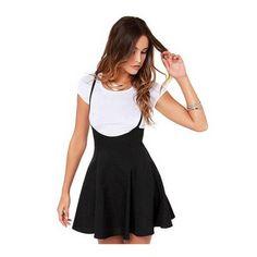 Black Shoulder Straps Pleated skirt