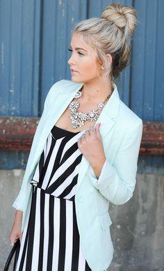 stripes + blazer + statement necklace