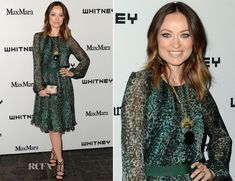 Olivia Wilde attended the Whitney Museum Art Party held at Skylight at Moynihan Station in New York City on Wednesday evening.  The actress wore a Max Mara printed silk-chiffon long-sleeved green dress, which she styled with Stuart Weitzman 'Latenite' sandals, a House of Lavande vintage necklace, Iwona Ludyga earrings and an Anya Hindmarch 'Duchess' clutch.