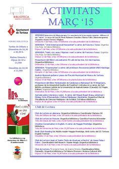 Activitats Març 2015  Biblioteca Marcel·lí Domingo de Tortosa