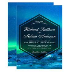 Arctic Aurora Northern Lights Wedding Invitation - winter wedding cyo marriage wedding party gift idea