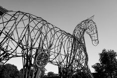 Look! An eagle! What? #sculpture #art #contemporaryart #wire #wireframes #silhouette #lines #composition #horse #bw #bnw #bnwphotography #leicaq #leicacamerafrance #leicacamera #explore #wander #culture #paysdelaloire