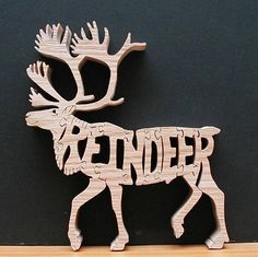 Reindeer Wood Puzzle Cut On Scroll Saw