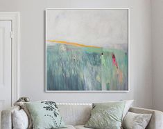 Large abstract painting white and green modern by LolaDonoghue