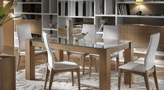 Tavolo rettangolare fisso con piano in vetro float chiaro art. 22003