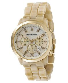 Michael Kors Watch, Women's Chronograph Showstopper Stainless Steel and Horn Acrylic Bracelet 44mm MK5217 - Women's Watches - Jewelry & Watches - Macy's