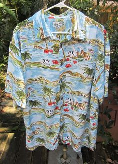 Big Dogs Embroidered Palms Textured Rayon Shirt
