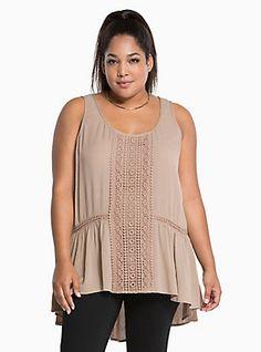 Plus Size Gauze Crochet Tank Top, BROWN