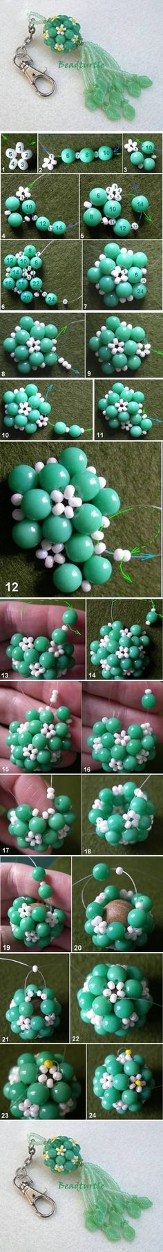 DIY Key Chain Beads Charm Could never get the hang of beaded ball beads...will totally try again with this tute