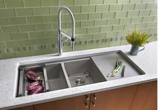 Undermount Double Kitchen Sink With Drainboard - Sink And Faucets : Home Decorating Ideas Granite Kitchen Sinks, Modern Kitchen Sinks, Double Kitchen Sink, Kitchen Sink Design, Kitchen And Bath, New Kitchen, Cool Kitchens, Kitchen Ideas, Kitchen Inspiration