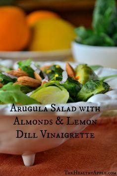 Arugula Salad with Almonds & Lemon Dill Vinaigrette #glutenfree