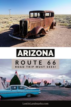 All the must see attractions on Route 66 in the state of Arizona. Perfect for small trips along the road if you don't want to do the whole route. From national parks to kitsch motels with classic mid century looks Arizona has it all. A classic road trip with some excellent vacation photo opportunities. Route 66 Arizona, Arizona Road Trip, State Of Arizona, Route 66 Attractions, Arizona Attractions, Route 66 Road Trip, Road Trip Hacks, Petrified Forest National Park, Historic Route 66