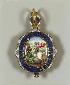 Lesser George known as 'The Strafford George', After Raphael, last quarter century, this badge was said to have belonged to Thomas Wentworth, Earl of Strafford who was created a Knight of the Garter in Obv. Royal Jewelry, Fine Jewelry, House Of Stuart, White Enamel, Silver Enamel, Order Of The Garter, Royal Collection Trust, Rose Cut Diamond, Jewelery