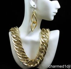 Vintage Light Gold Tone Chunky Chain Link Necklace Earring Set Aluminum FAB! $34.00 SOLD