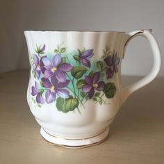 "Royal Albert ""Violets"" Flower of the Month Series,  Coffee Cup, February Vintage Coffee Mug, Bone China, Birthday Gift by CupandOwl on Etsy"
