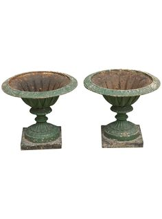 Patina please: Pair of Antique English Cast Iron Garden Urns | The HighBoy | www.thehighboy.com