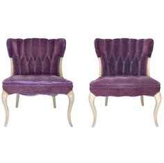 Hollywood Regency Purple Velvet Tufted Faded Worn Vogue  Chairs