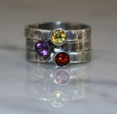 Hand Stamped Birthstone Stacking Ring, Oxidized, 3 Family & Mother's Rings, three 4mm Gemstones, Sterling Silver, Custom made on Etsy, $150.00