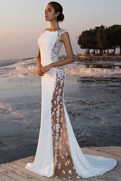 Fabulous Stretch Chiffon Bateau Neckline See-through Mermaid Wedding Dress With Beaded Lace Appliques #weddingdress
