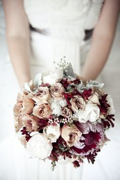 Hunter Valley wedding at Peterson's Champagne House by Matt Johnson Photography This would be so charming for a winter wedding! Red Bouquet Wedding, Burgundy Wedding, Wedding Bridesmaids, Fall Wedding, Our Wedding, Wedding Flowers, Dream Wedding, Wedding Vintage, Bridal Bouquets