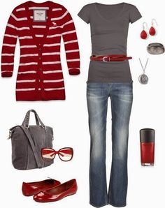 Casual Red Outfits With Super Cute Cardigan