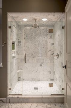 Marble Shower Tile Design 7 (Marble Shower Tile Design design ideas and photos Cozy Bathroom, Small Bathroom, Steam Bathroom, Shower Bathroom, Shower Door, Bathroom Ideas, Bath Ideas, 1950s Bathroom, Shower Niche
