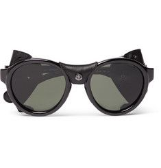 Moncler - Round-Frame Leather-Trimmed Acetate Polarised Sunglasses