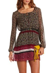 belted floral chiffon dress with boots!