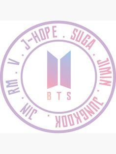 BTS with new logo' Sticker by dexta - BTS Wallpapers Pop Stickers, Tumblr Stickers, Printable Stickers, Happy Stickers, Bts Army Logo, Kpop Logos, Bts Shirt, Bts Tattoos, Bts Birthdays