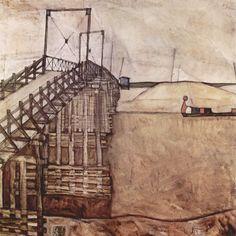 Egon Schiele. The Bridge.1913. 89.7 × 90.5 cm. Oil on canvas. Private collection, New York. #egonschiele #art #painting #landscapes