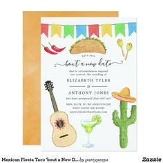 Mexican Fiesta Taco \'bout a New Date Wedding Change the Dates Wedding Invitations,Change the Date Bridal Shower Invitations,Change the Dates Invitations Card Mexican Wedding Invitations, Bridal Shower Invitation Wording, Wedding Invitation Size, Couples Shower Invitations, Invitation Cards, Invite, Funny Wedding Cards, Wedding Humor, Tacos And Tequila