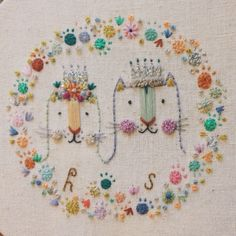 """meganivygriffiths: """" King and queen cat Megan Griffiths embroidery Instagram.com/meganivygriffiths """""""