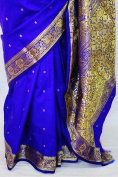 Cobalt Blue & Gold Sequins Work Banaras Silk Saree – Nandika's Sarees