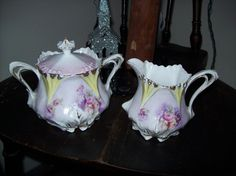 Antique RS Prussia China Sugar & Creamer Set w/Roses in Green & Purple Unmarked #RSPrussia