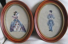 Pair Vintage Handmade Needlepoint Victorian Gentleman & Lady In Oval Wood Frames #Homemade