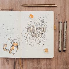 What a crazy week . After being featured by @bulletjournal, my little account shot past 2000 followers. I'd never imagined that many people would be interested in my little bullet journal! Thank you so much ❤️. To celebrate, a cat that's eaten so much that it's changed the orbit of that star . I've just finished putting together this week's weekly too, so I'll be posting that video tonight ❤️
