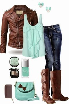 Fall/Winter Outfit With Brown Leather Jacket, Mint Blouse and Jeans