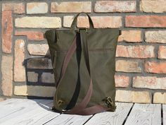 Forest Green Waxed Canvas Vegan Backpack Olive green Unisex