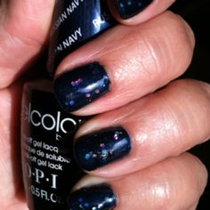OPI Gelcolor Russian Navy with embedded glitter. With Denise at Hot Heads in Beaver  www.denisedeangelis.com