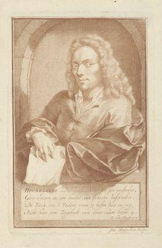 Jacob Houbraken   Portret van Arnold Houbraken, Jacob Houbraken, David Fransz. van Hoogstraten, 1718   Portret ten halven lijven naar links van Arnold Houbraken, in een venster, met in zijn rechterhand een prent en zijn linkerarm leunend op de vensterbank. Onder het portret een vierregelig vers in het Nederlands.