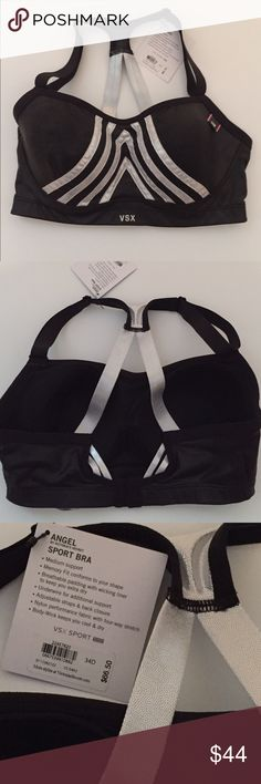 New Victoria's Secret VSX Sport Bra Size 34D This adorable Black Bra looks like leather and has Silver Shimmering Straps,  Has breathable padding with underwire for additional supportAdjustable straps with back closure.Size 34D No trades, Price firm Victoria's Secret Intimates & Sleepwear Bras
