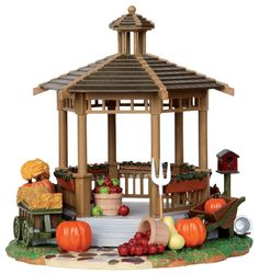 harvest, gazebo, apples, fall, autumn by Lemax Collections