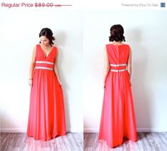20% OFF HALLOWEEN SALE Vintage // neon red maxi dress // floor length formal dress // prom dress // ball gown // party dress // summer maxi