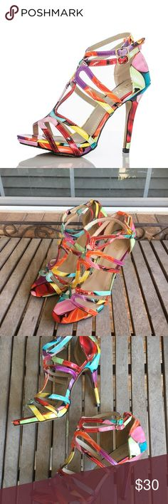 """Multi Coloured Balloon Print Loop High Heel Sandal Amazing, Multi Coloured Balloon Print Loop High Heel Sandals. Great condition. Great addition to your spring wardrobe. Man made materials. 5"""" Heels. Ankle strap closure. Mix and match with all your favorite pieces. Summer, Colorful, Strappy Quiz Shoes Heels"""