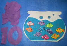 TEN LITTLE FISHES in a Fish Bowl Counting 1-10 Flannel Felt Board Story Set