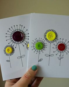 DIY Karten basteln nice card quickly made Boost Your Confidence With Clubwear Lingerie Article Body: Cute Cards, Diy Cards, Art For Kids, Crafts For Kids, Tarjetas Diy, Diy Buttons, Crafts With Buttons, Button Cards, Handmade Birthday Cards